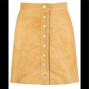 Muubaa Holland Mini Skirt in Tan Leather